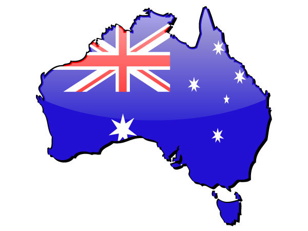 australia map and flag