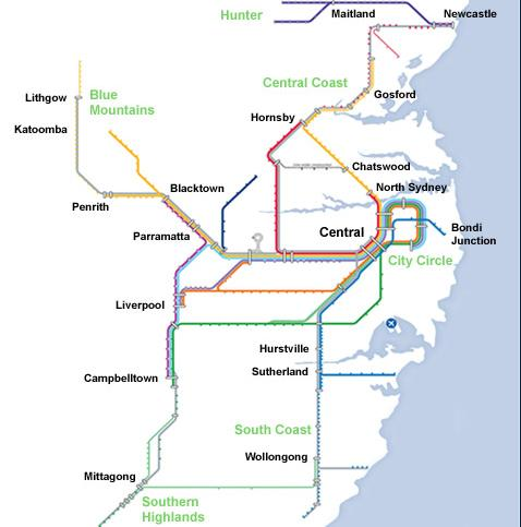 CityRail Australia Network Map