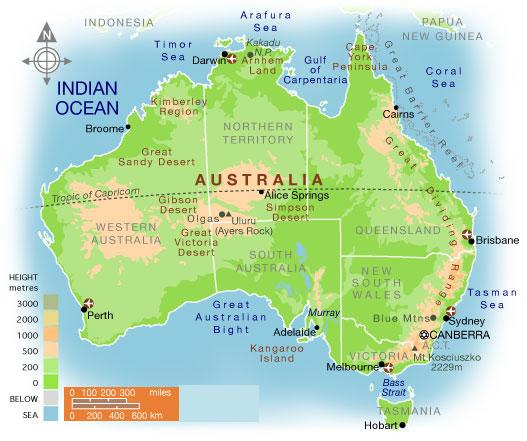 Australia On A Map.Detailed Maps Of Australia