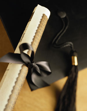 MBA graduation cap and certificate