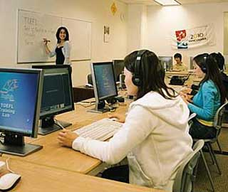 Students Studying for the TOEFL exam